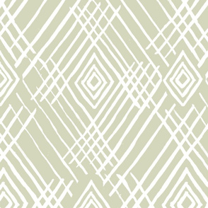 tribal white stripes sage