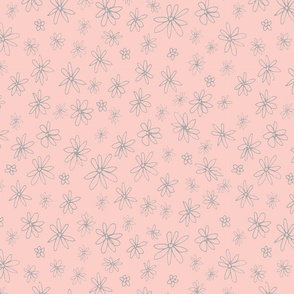 Loopy Flowers - light grey on peach - small