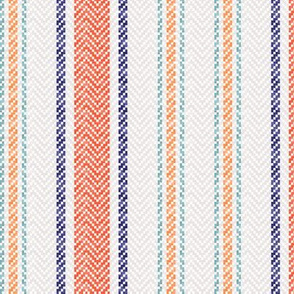Ticking Two Stripe in Coral Navy Mint Green and Pink