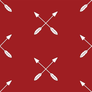 white crossed arrows on buffalo plaid red