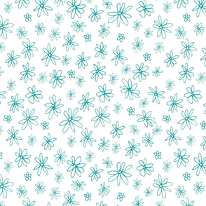 Loopy Flowers - aqua on white - small