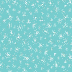 Loopy Flowers - white on aqua - small