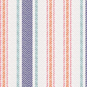 Ticking Two Stripe In Navy Coral Mint Green and Pink 2