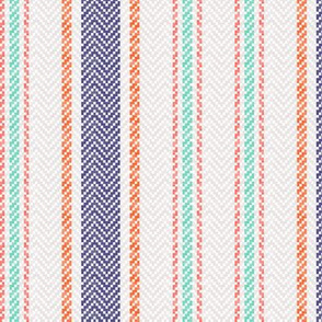 Ticking Two Stripe in Navy Mint Green Coral and Pink 3