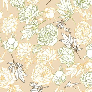 flowers toss yellow - green - beige
