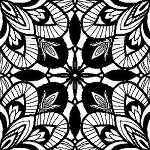 BW Kaleidoscope Tile