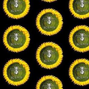 Sunflower Bee Kind on Black