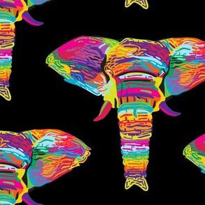 Psychedelic Rainbow Elephant