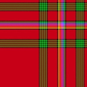 Custom Christmas rainbow-on-red tartan,  12""