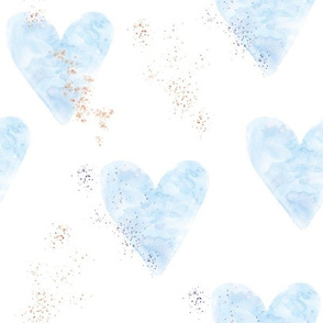 blue watercolor hearts with gold dust