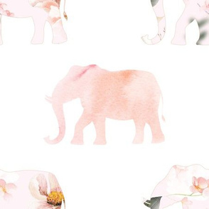 elephant march, pink and floral