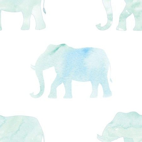 blue green watercolor elephant march