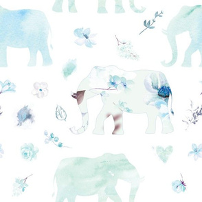 blue green elephant watercolor floral