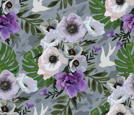 Painted Purple Posies  fabric by cynthiafrenette on Spoonflower - custom fabric
