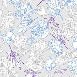flowers toss grey - blue - violet