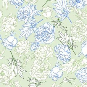 flowers toss blue - green - mint