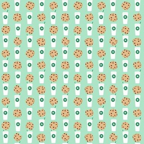 SMALL - coffee and cookies fabric mint coffee fabric