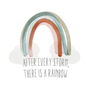 "42"" baby blanket: after every storm there is a rainbow + neutral rainbow no. 2"