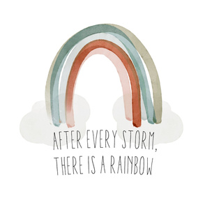 "54"" baby blanket: after every storm there is a rainbow + neutral rainbow no. 2"