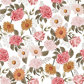 LARGE Symphony Rose - vintage floral fabric, muted floral fabric, nursery floral, earth tone palette, trendy floral design, rose fabric, daisy fabric, baby girl fabric