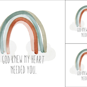 1 blanket + 2 loveys: god knew my heart needed you + neutral rainbow no. 2