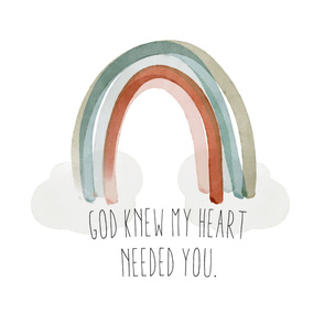 "54"" baby blanket: god knew my heart needed you + neutral rainbow no. 2"