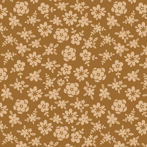Tan Floral On Brown