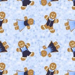 Gingerbread People Blue Stars