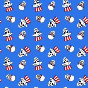 patriotic skulls blue small