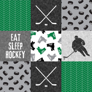 Eat Sleep Hockey - Ice Hockey Patchwork - Hockey Nursery - Wholecloth green, black, and grey - LAD19