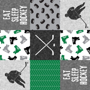 Eat Sleep Hockey - Ice Hockey Patchwork - Hockey Nursery - Wholecloth green, black, and grey - LAD19 (90)