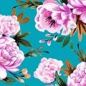 lush floral turq