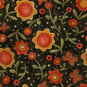 Folk Art Flowers Orange and Black