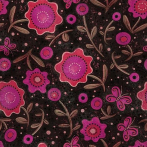 Folk Art Flowers Magenta and Black