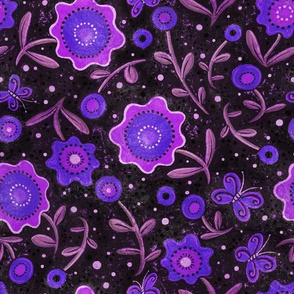 Folk Art Flowers Purple and Black