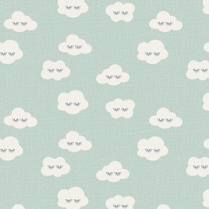 medium // sleepy clouds linen minty green
