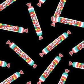 candy rolls -  tablet candy - rainbow toss on black - LAD19
