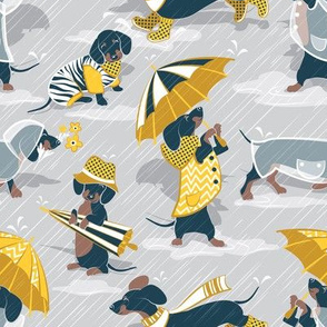 Ready For a Rainy Walk // small scale // light grey background navy blue dachshunds dogs with yellow and transparent rain coats and umbrellas