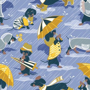 Ready For a Rainy Walk // small scale // indigo blue background navy blue dachshunds dogs with yellow and transparent rain coats and umbrellas