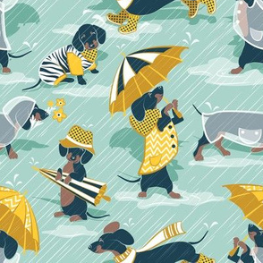 Ready For a Rainy Walk // small scale // aqua background navy blue dachshunds dogs with yellow and transparent rain coats and umbrellas
