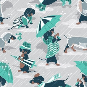 Ready For a Rainy Walk // small scale // light grey background navy blue dachshunds dogs with teal and transparent rain coats and umbrellas