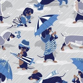Ready For a Rainy Walk // small scale // light grey background navy blue dachshunds dogs with blue and transparent rain coats and umbrellas