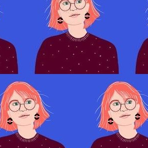 girl with glasses illustration