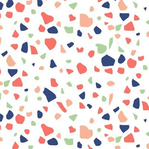Terrazzo in Navy Coral Mint and Pink on White