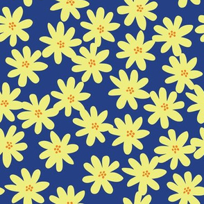 yellow flowers on Navy