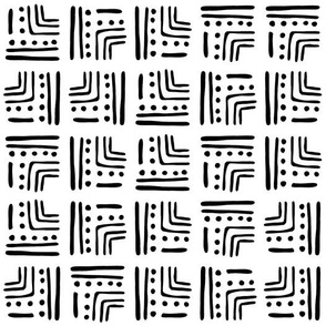 Abstract Tribal Block Pattern | White & Black