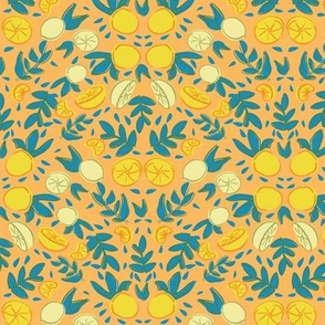 citrus lemon orange seamless repeat pattern design