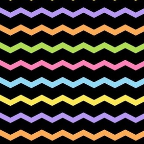 Chevron Pastel Rainbow on Black