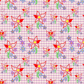 Daisy Delight - pink, purple gingham