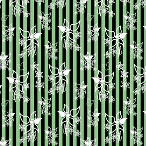 Daisy Delight - white on green & black stripes